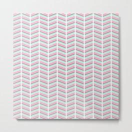 Geometrical neon pink turquoise modern chevron zigzag Metal Print