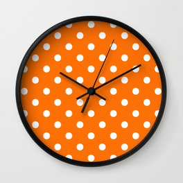 Extra Large White on Pumpkin Orange Polka Dots Wall Clock