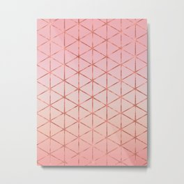 Triangle Pattern - Rose Gold Metal Print
