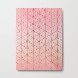Triangle Pattern - Rose Gold Metal Print