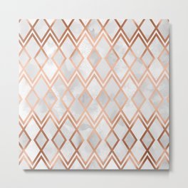 Copper & White Geo Diamonds Metal Print