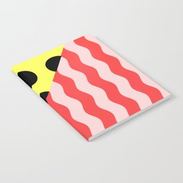 Polka Waves - black and yellow polka dots and red and pink waves Notebook