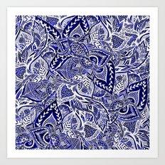 Modern navy blue indigo floral hand drawn pattern Art Print