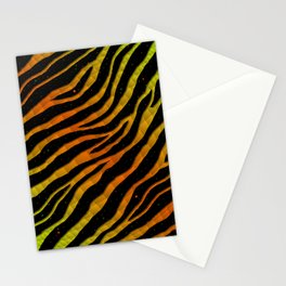 Ripped SpaceTime Stripes - Lime/Orange Stationery Cards