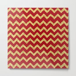Chevron Red Gold Metal Print