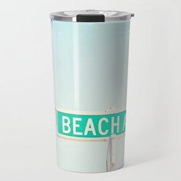 Beach House Photography, Coastal Art Print, Aqua Blue Seashore Summer Photo Travel Mug