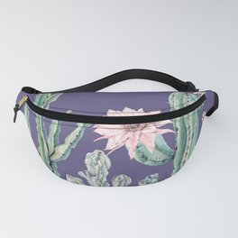 Desert Cactus Succulents + Gemstones on Deep Purple Fanny Pack