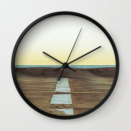 Sandy beach of Rimini shortly after dawn in winter Wall Clock