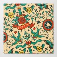 tattoos Canvas Prints featuring Tattoos by Illuminany