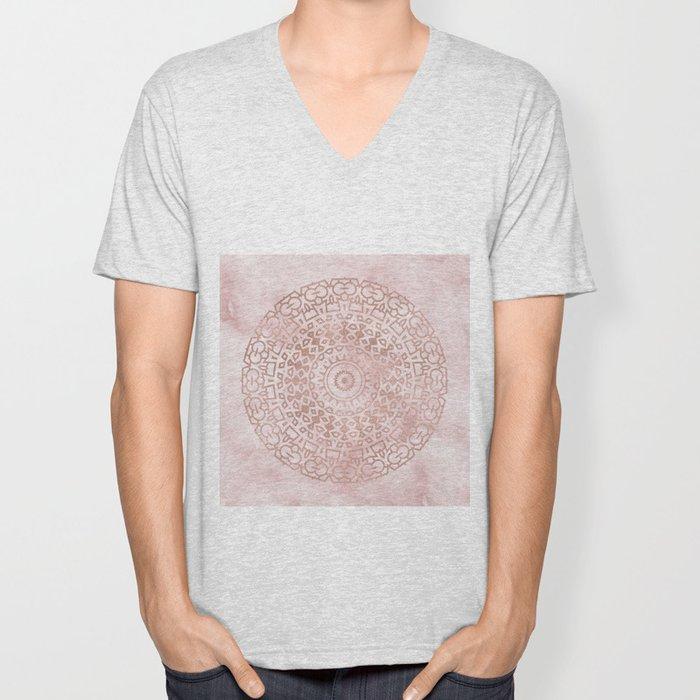 Misty pink marble rose gold mandala Unisex V-Neck