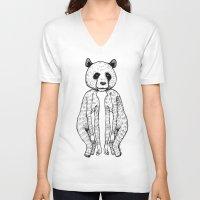 pandas V-neck T-shirts featuring Pandas by Benson Koo