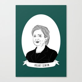 Hillary Clinton Illustrated Portrait Canvas Print