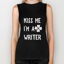 Kiss Me I_m A Writer With Shamrock St Patrick's Day Biker Tank