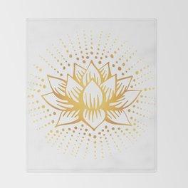 Golden Lotus Mandala Light Throw Blanket