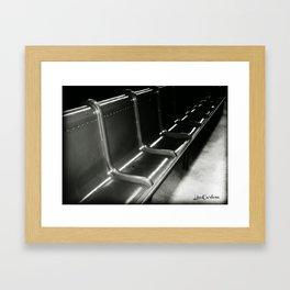 Train Bench Black and White Framed Art Print