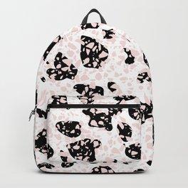 Tripple Terrazzo - Rose Pink Black & White Modern Speckle Pattern Backpack