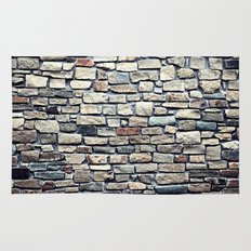 Grey tiles brick wall Rug