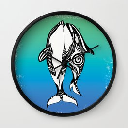 Two Orca Whales Teal Blue Wall Clock