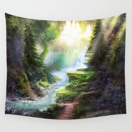 Magical Forest Stream Wall Tapestry