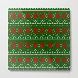 Knitted Christmas pattern red green 3 Metal Print