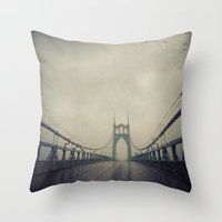 marc johns Throw Pillows featuring St. Johns Bridge by Leah Flores