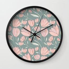 Soft Pink Flowers w/ Dark Green Wall Clock
