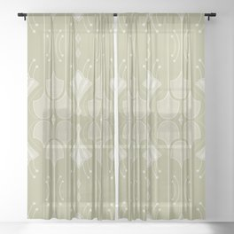 Art Deco Botanical Flower Shapes - Summer Green Sheer Curtain