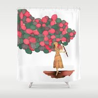 ballon Shower Curtains featuring Ballon Girl by Kwelts1