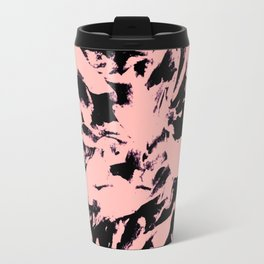 Old Rose Black Abstract Military Camouflage Travel Mug