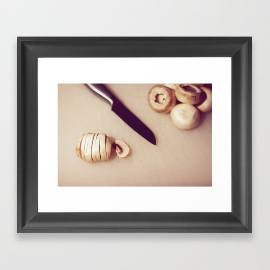 Chopping mushrooms Framed Art Print