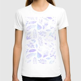 Hand painted pastel lavender violet teal watercolor floral T-shirt