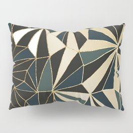 New Art Deco Geometric Pattern - Emerald green and Gold Pillow Sham