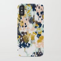 girls iPhone & iPod Cases featuring Sloane - Abstract painting in modern fresh colors navy, mint, blush, cream, white, and gold by CharlotteWinter