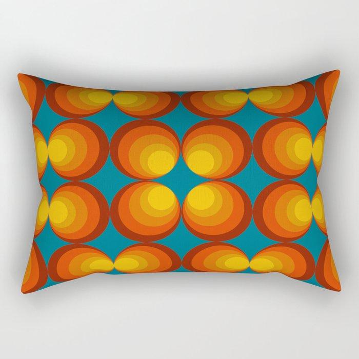 70s Circle Design - Teal Background Rectangular Pillow