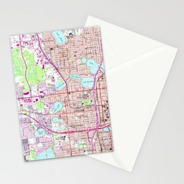 Vintage Map of Western Orlando Florida (1956) Stationery Cards