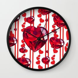 RED VALENTINES & RUBY HEARTS  DESIGN Wall Clock