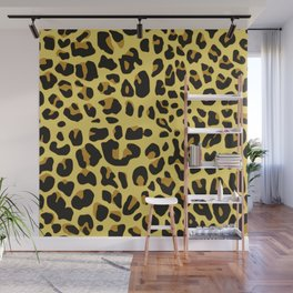 Hipster black yellow brown leopard animal print Wall Mural