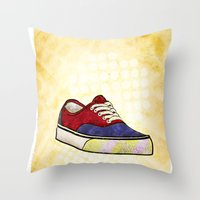 vans Throw Pillows featuring Man I Need Vans - Classic Sneaker Icon by Dave Conrey