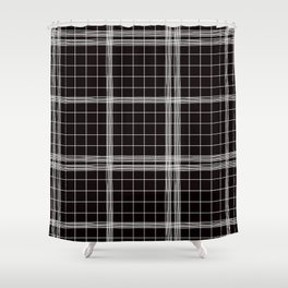 Back to Schoo l- Simple Handdrawn Grid Pattern - Black & White - Mix & Match with Simplicity of Lif Shower Curtain