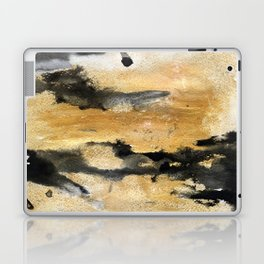 Black and Gold Brush Stroke Abstract Laptop & iPad Skin