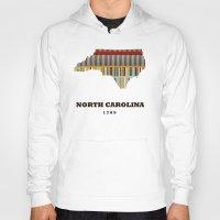 north carolina Hoodies featuring North Carolina state map modern by bri.buckley