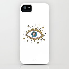 Farsight Eye of Providence Medieval Heart Romantic Engraving Linear Clipart Illustration iPhone Case