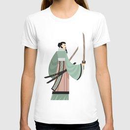 unarmored samurai with katana blades T-shirt