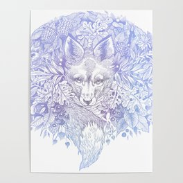 Pastel Purple Hiding Fox Drawing Poster