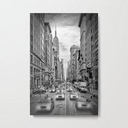 NEW YORK CITY 5th Avenue Traffic   Monochrome Metal Print