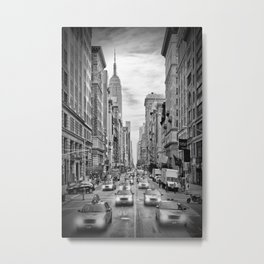 NEW YORK CITY 5th Avenue Traffic | Monochrome Metal Print