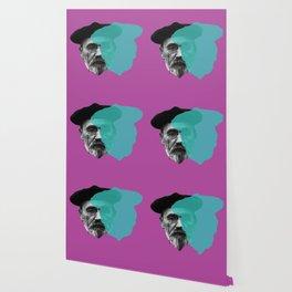 Emile Zola portrait purple blue Wallpaper