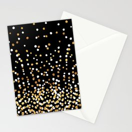 Floating Dots - White and Gold on Black Stationery Cards