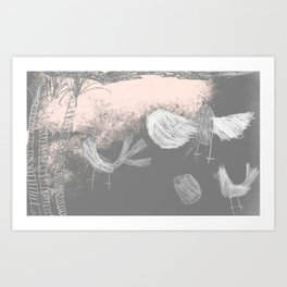 Free Willywagtails Art Print