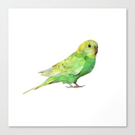 Geometric green parakeet Canvas Print